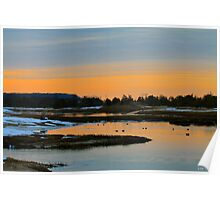 Winter Sunset on the Nissequogue River Poster