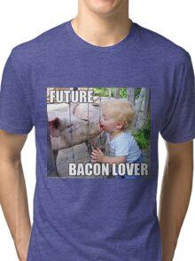 "Viral Meme of Little Boy Kissing Pig ""Future Bacon Lover"" Photograph Tri-blend T-Shirt"
