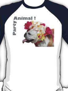 Party Animal!  Bulldog with Flower Bonnet T-Shirt