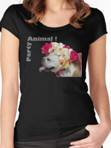 Party Animal!  Bulldog with Flower Bonnet Women's Fitted Scoop T-Shirt