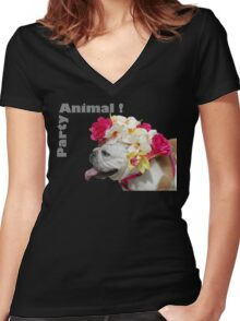 Party Animal!  Bulldog with Flower Bonnet Women's Fitted V-Neck T-Shirt