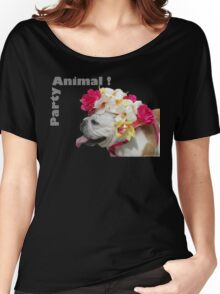 Party Animal!  Bulldog with Flower Bonnet Women's Relaxed Fit T-Shirt