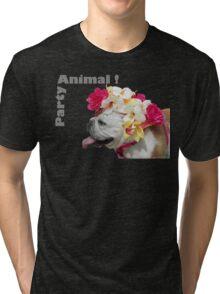 Party Animal!  Bulldog with Flower Bonnet Tri-blend T-Shirt