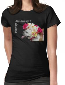 Party Animal!  Bulldog with Flower Bonnet Womens Fitted T-Shirt
