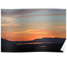 Red sky over the loch Poster