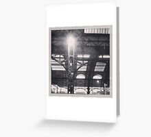 snowing in milan central station Greeting Card