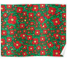 Red and Green Flowers Poster