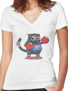 BOXERCAT: A lover and a fighter Women's Fitted V-Neck T-Shirt