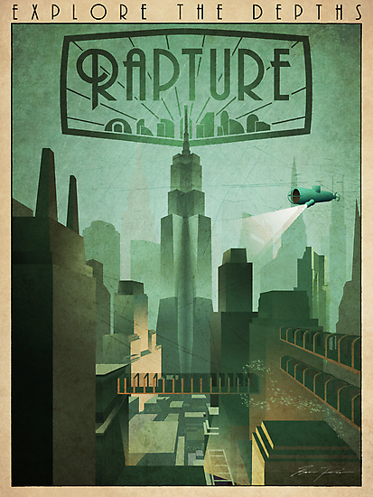 Rapture Art-Deco Travel Poster by Zigzugzwang