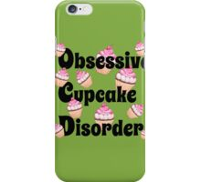 Cute Green with Pink Obsessive Cupcake Disorder iPhone Case/Skin