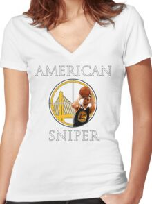 Steph Curry - American Sniper Women's Fitted V-Neck T-Shirt