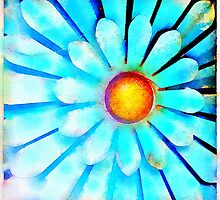 Blue and Gold Metal Daisy IV by Roger Passman