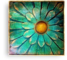 Blue and Gold Metal Daisy I Canvas Print