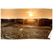 Beach cabins in sunset Poster