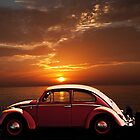 VOLKSWAGEN BEETLE WITH CALIFORNIA SUNSET by Larry Butterworth