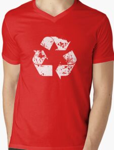 Recycle (Distressed - White) Mens V-Neck T-Shirt