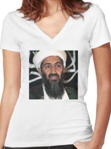osama bun laden edgy shirt Women's Fitted V-Neck T-Shirt