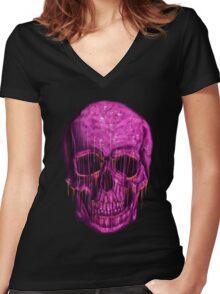 purple skull Women's Fitted V-Neck T-Shirt