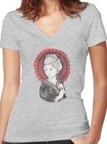 Japanese flag and Geisha Women's Fitted V-Neck T-Shirt