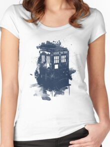 splatter tardis Women's Fitted Scoop T-Shirt