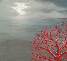 Red Tree in Moonlight by Darla Gojcz