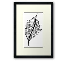 Zentangle Feather Balck and White Design Framed Print
