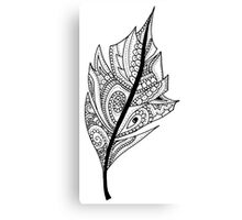 Zentangle Feather Balck and White Design Canvas Print