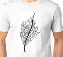 Zentangle Feather Balck and White Design Unisex T-Shirt