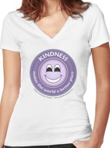 Kindness Makes the World a Better Place - Purple T-shirt Women's Fitted V-Neck T-Shirt