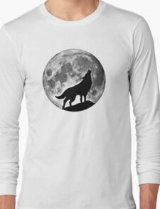 Wolf on the moon Long Sleeve T-Shirt