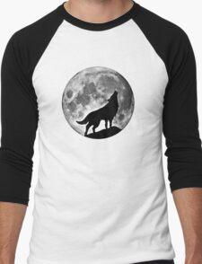 Wolf on the moon Men's Baseball ¾ T-Shirt