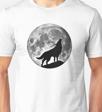 Wolf on the moon Unisex T-Shirt