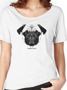 mops puppy white - french bulldog, cute, funny, dog Women's Relaxed Fit T-Shirt