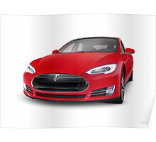 Tesla Model S luxury electric car art photo print Poster