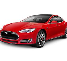Tesla Model S red luxury electric car art photo print by ArtNudePhotos
