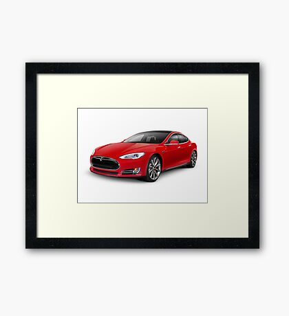 Tesla Model S red luxury electric car art photo print Framed Print