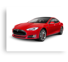 Tesla Model S red luxury electric car art photo print Canvas Print
