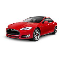 Tesla Model S red luxury electric car art photo print Photographic Print