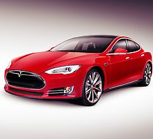 Tesla Model S 2014 red luxury sedan electric car art photo print by ArtNudePhotos
