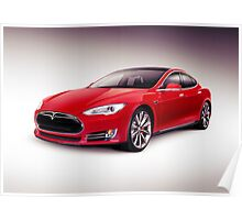 Tesla Model S 2014 red luxury sedan electric car art photo print Poster