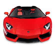 Lamborghini Aventador LP 700-4 Roadster sports car front view art photo print by ArtNudePhotos