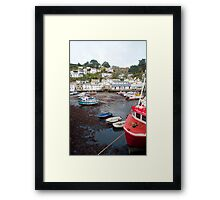 Polperro harbour and cottages Framed Print