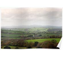 Cornish countryside on a misty day Poster