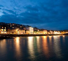 Twilight view of St Ives waterfront by photoeverywhere