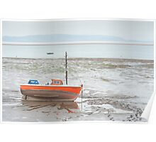 Small fishing boat at low tide Poster
