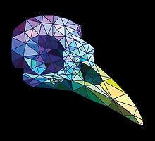 Colorful low-poly bird scull by sobakapavlova