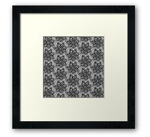 Black knitted lace pattern with flowers Framed Print