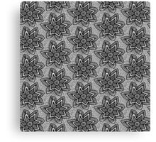 Black knitted lace pattern with flowers Canvas Print