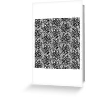 Black knitted lace pattern with flowers Greeting Card