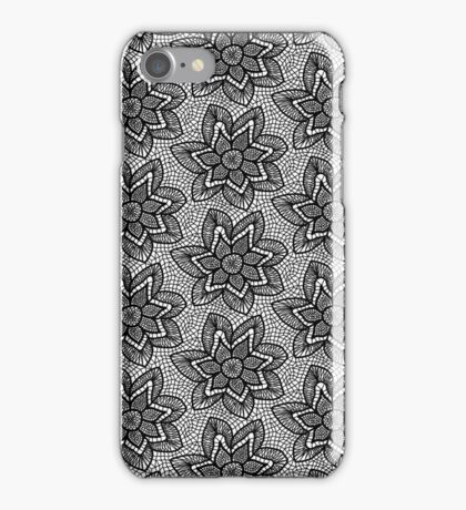 Black knitted lace pattern with flowers iPhone Case/Skin